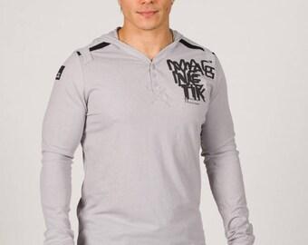 Magnetik Hooded Henley Long Sleeve Silver/Black/Navy