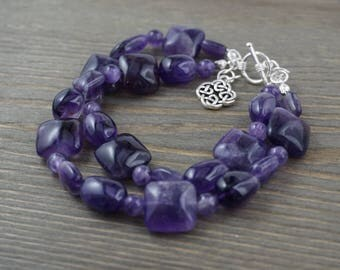 double stranded amethyst and silver bracelet