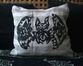 handcrafted bat pillow - striped fabric