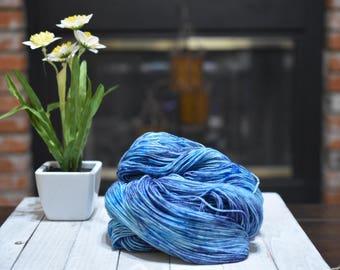 Hand-dyed yarn, 100% SW merino wool, 2-ply, 400yrds, Blueberry Swirl
