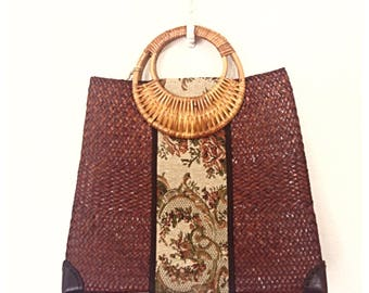 Boho Chic Tapestry Handbag, Autumn Handbag, Woven Straw Market Bag, Wicker Handle Bag, Rattan Bag, Straw Handbag, Tapestry Shoulder Bag