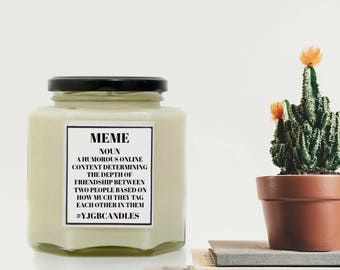 Meme Gift, Meme Candle, Meme Dictionary Meaning, Gift For Friend, Meme Addict, Candle, Scented Candle, Candles, Swearing Gift, Adult Gift