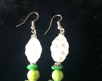 Green clear drop earrings