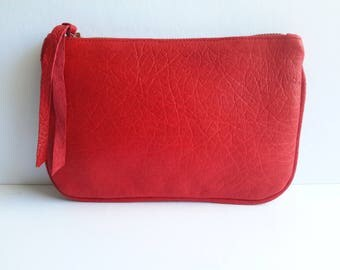 Red Leather Pouch Bag, Zipper Pouch, Red Purse, leather wallet purse, leather wallet, leather pouch, small leather purse, cosmetic bag