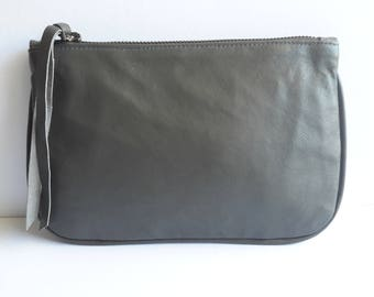 leather wallet purse, Leather Pouch Bag, Zipper Pouch, Gray Purse, leather wallet, leather pouch, small leather purse, cosmetic bag