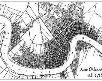 New Orleans Map [Black & White]