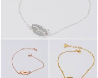 Lips chain bracelet in silver, gold & rose gold