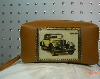 male bag leather with retro-car yellow