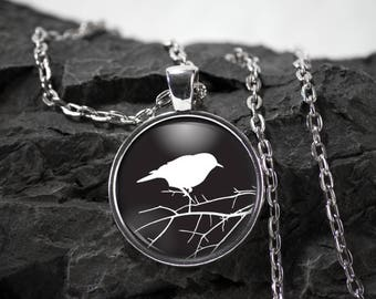 Bird Glass Pendant bird necklace bird jewelry photo pendant art pendant photo jewelry art jewelry silver glass jewelry