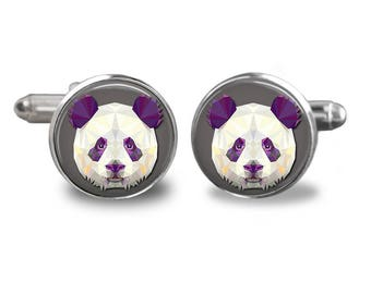 Panda cufflinks panda bear cufflinks animal cufflinks bear gift mens cufflinks glass cufflinks silver cufflinks mens cuff links