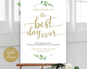 Printable Welcome To the Best Day Ever Sign Editable Wedding Signs Welcome Wedding Sign Template Welcome Sign PDF Instant Download Jasmine