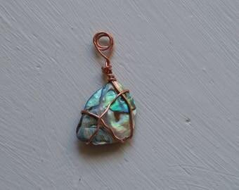 Copper wire wrapped paua shell pendant