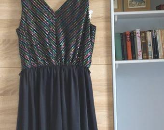 Sparkly rainbow striped vintage dress size 8/10