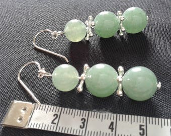 Green Aventurine and Sterling Silver 925 earrings