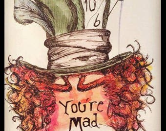 Mad Hatter Hand Painted A4 Portrait