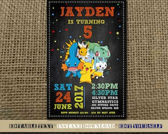 Pokemon Invitation,Pokemon Birthday,Pokemon Birthday Invitation,Pokemon Party,Pokemon Editable,Pokemon Birthday Party,Editable,Pokemon-SL22