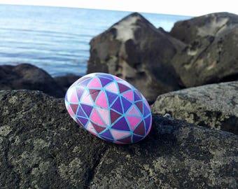 Mindful - Icelandic - Painted - Stone - Purple Triangles