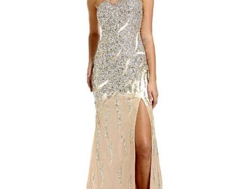 NEW TEMPTATION dress 3071, Asymmetrical Sequined Evening Gown, Silver/Gold