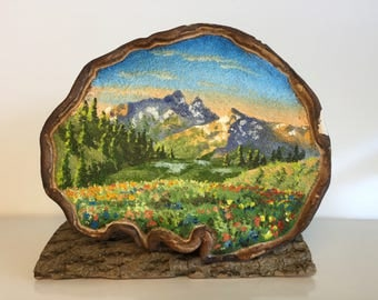 Landscape on unique, one of a kind bracket fungus (artists conk). Mountain Meadow