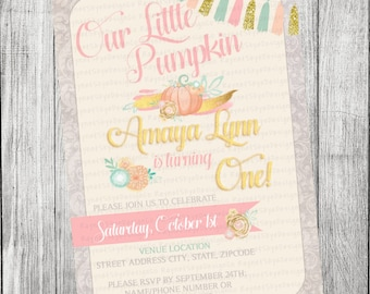 Gold and Pink Pumpkin Invitation