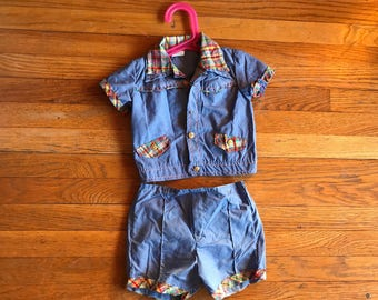 Vintage cradle togs chambray with plaid two piece set