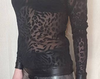 Lace leopard print and leather trimmed high neck top. UK size 8-10