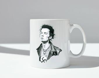 Sid Vicious with swastika ceramic mug, dishwasher safe