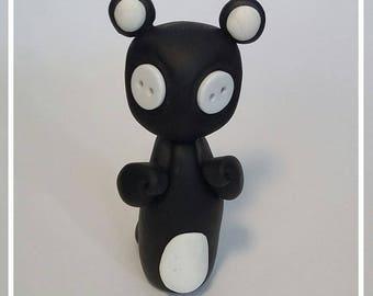 Button Eyed Bear, Handmade Polymer Clay Ornament