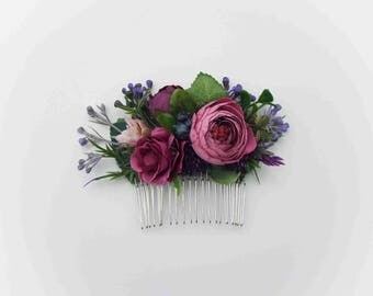 Floral Hair Comb - Purple
