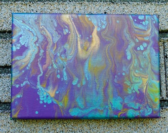 Purple & Turquoise Abstract Acrylic Painting 5x6
