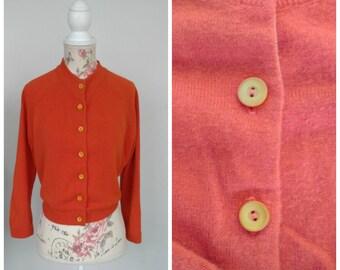 vintage 1950s orange cardigan