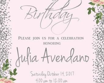 Birthday Invite, 20th Birthday, 60th Birthday, 70th Birthday