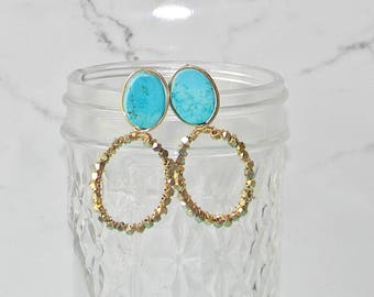 Gold Wire Wrapped Turquoise Statement Earrings (Stud/Drop)