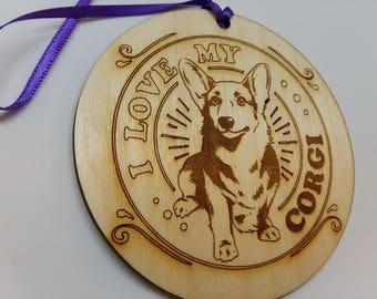 I LOVE My Corgi, Dog Ornament, Corgi Dog Gift, Dog Owner Gift, Corgi Christmas Gift, Gift For Dog Owner, Corgi Gift, wooden Corgi