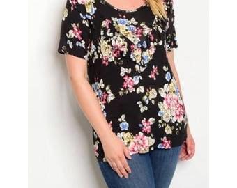 Plus Size Black Floral Top