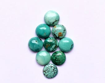 Natural Tibetian Turquoise Round Gemstone Smooth Cabochon for jewelry pendant making supplies