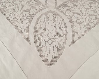 """Stunning Antique Italian Fine Linen & Punchwork Lace Banqueting Tablecloth 9' x 5' 10"""""""