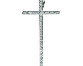 Large Thin Cubic Zirconia Sterling Silver Cross