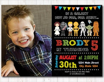 Star Wars Birthday Invitation, Star Wars Party, Star Wars Invite, Photo Invitation, printable