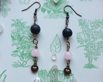 Rose Quartz & Lava Rock Healing Heart Earrings