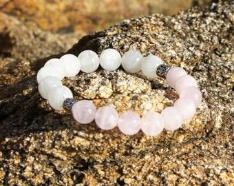 Moonstone and Rose Quartz Yoga bracelet