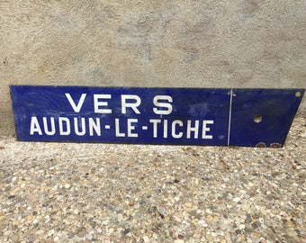 Vintage 1930s French Road Sign