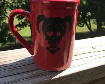 Harley Quinn themed coffee cup 15 oz