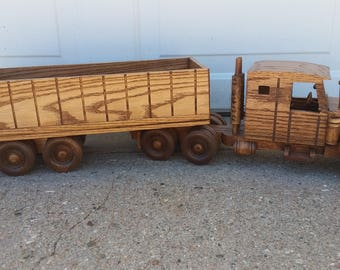 Realistic Wooden Semi with Trailer