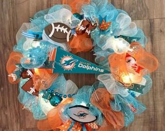 Miami Dolphins LED Wreath