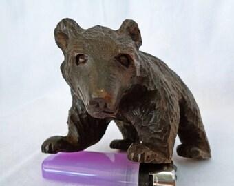 VJ156 : Japanese Ainu Hokkaido carving wood HIGUMA Bear ,rare