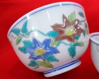 VJ220:Green Tea cups,Kutani Bone China Tea cups, Kutani-yaki porcelain tea cups with floral motifs,Marked,hand made in Japan,PRICE PER 1CUP