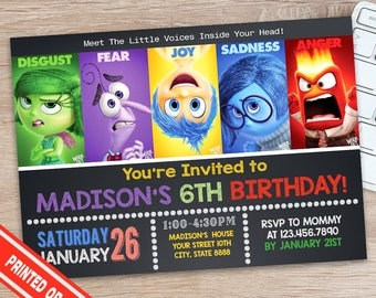 Inside Out Invitation Inside Out Birthday Party Inside Out - Birthday invitations inside out