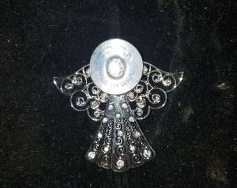 Angel necklace 12 gage shotgun casing recycled . Bullet art