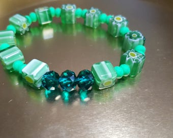 Green geometric beaded Bracelet